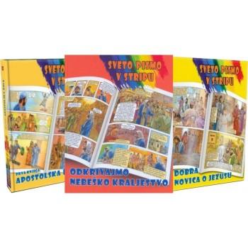 Sveto pismo v stripu - Komplet 3 knjig - Dobra novica o Jezusu, Apostolska dela, Odkrivajmo Nebeško kraljestvo